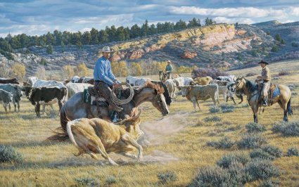 """Tim Cox Handsigned and Numbered Limited Edition Print:""""Cowboy Cut"""""""