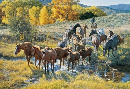 """Tim Cox Hand Signed and Numbered Limited Edition Print:""""Crossing the Creek"""""""