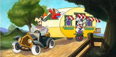 """Tim Rogerson Artist Signed Embellished Limited Edition Canvas Giclee: """"Mickey's Trailer"""""""