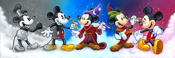 "Tim Rogerson Hand-Embellished on Canvas Giclee :""Mickey's Creative Journey"""