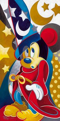 """Tim Rogerson Hand Signed and Numbered Embellished Canvas Giclee:""""A Magical Moment (Mickey Mouse - Fantasia) """""""