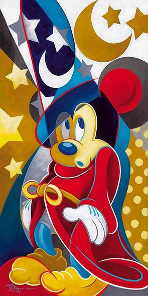 "Tim Rogerson Hand Signed and Numbered Embellished Canvas Giclee:""A Magical Moment (Mickey Mouse - Fantasia) """