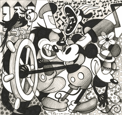 "Tim Rogerson Hand Textured Limited Edition Gallery Wrap Canvas Giclee:""Steamboat (Mickey Mouse) """