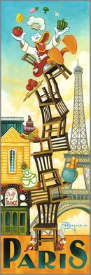 "Tim Rogerson Handsigned and Numbered Embellished Giclee on Canvas:""Donald's Paris"""