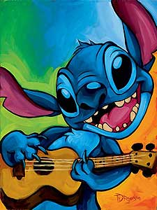 """Tim Rogerson Handsigned and Numbered  Giclee on Canvas:"""" Lilo and Stitch - Stitch"""""""
