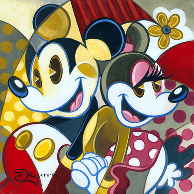 """Tim Rogerson Handsigned and Numbered Holiday Collection Embellsihed Canvas Giclee :""""Cubist Couple"""""""