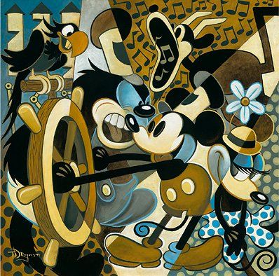 "Tim Rogerson Handsigned and Numbered Limited Edition Embellished Canvas Giclee: ""Of Mice and Music"""