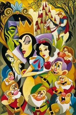 "Tim Rogerson Handsigned and Numbered Limited Edition Embellished Canvas Giclee: ""The Enchantment of Snow White"""