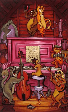 """Tim Rogerson Handsigned and Numbered Limited Edition Embellished Giclee on Canvas: """"Scat Cat Beat """""""