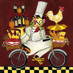 "Tim Rogerson Handsigned and Numbered Limited Edition Giclée on Canvas:""The International Chef Series: Cacciatore Chef"""