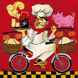 """Tim Rogerson Handsigned and Numbered Limited Edition Giclée on Canvas:""""The International Chef Series: Kung Pao Chef"""""""