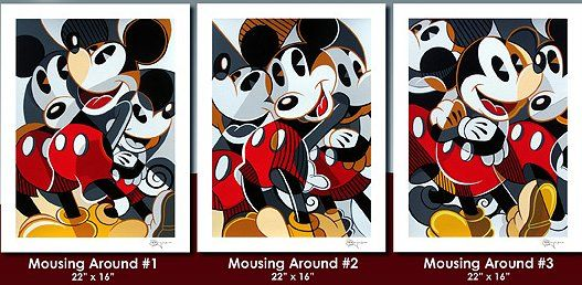 "Tim Rogerson Limited Edition Artist Signed Serigraph on Paper:""Mousing Around - (Matching Numbered Suite of 3) """