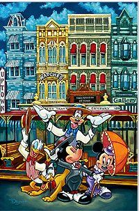 """Tim Rogerson Signed and Numbered Giclee on Canvas:""""Dinseyland - The Magic of Main Street"""""""