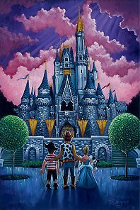 """Tim Rogerson Signed and Numbered Giclee on Canvas:""""Disneyland - Keys to the Kingdom """""""