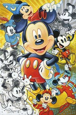 "Tim Rogerson Signed and Numbered Limited Edition Hand-Embellished Giclée on Canvas:""90 Years of Mickey"""