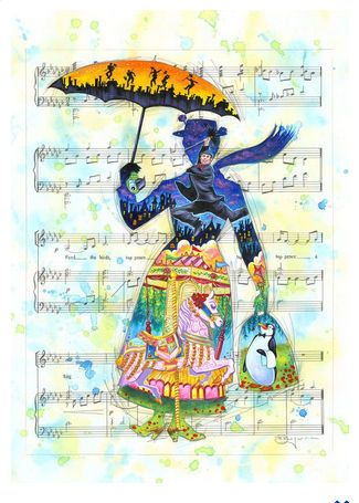 """Tim Rogerson Signed and Numbered Limited Edition Hand-Embellished Giclée on Canvas:""""A Mary Tune"""""""