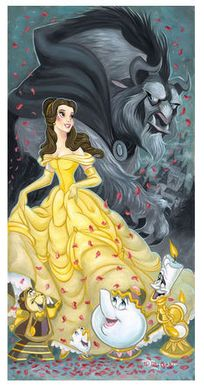 "Tim Rogerson Signed and Numbered Limited Edition Hand-Embellished Giclée on Canvas:""Belle and the Beast"""