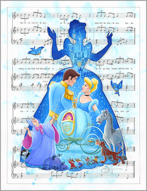 """Tim Rogerson Signed and Numbered Limited Edition Hand-Embellished Giclée on Canvas:""""Bibbidi Bobbidi Boo"""""""