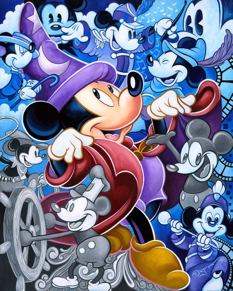 """Tim Rogerson Signed and Numbered Limited Edition Hand-Embellished Giclée on Canvas:""""Celebrate the Mouse"""""""