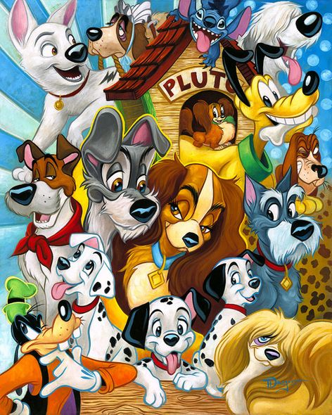 """Tim Rogerson Signed and Numbered Limited Edition Hand-Embellished Giclée on Canvas:""""Disney Dogs"""""""