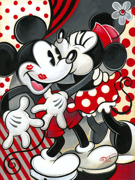 """Tim Rogerson Signed and Numbered Limited Edition Hand-Embellished Giclée on Canvas:""""Hugs and Kisses"""""""