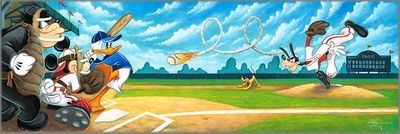 """Tim Rogerson Signed and Numbered Limited Edition Hand-Embellished Giclée on Canvas:""""Swing for the Fences"""""""