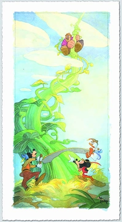 "Toby Bluth Artist Signed Limited Edition Hand Deckled Giclee on Paper:""Mickey and the Beanstalk"""