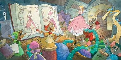 """Toby Bluth Artist Signed Limited Edition Hand Deckled Giclee on Paper:""""Sew Beautiful (Cinderella)"""""""