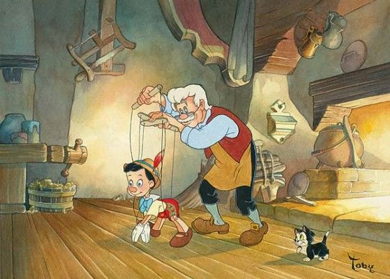 "Toby Bluth Disney Fine Art Limited Edition Giclee on Paper:""Little Wooden Boy"""