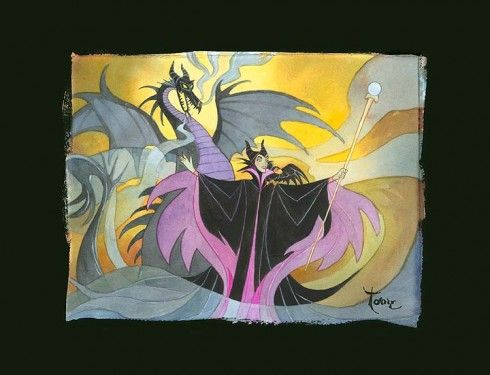 "Toby Bluth Hand Textured Chiarograph on Black Paper:""Maleficent"""
