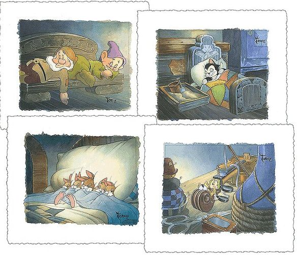 """Toby Bluth Handsigned and Matching Numbered Limited Edition Giclee on Paper:""""Sweet Dreams -Suite of 4"""""""