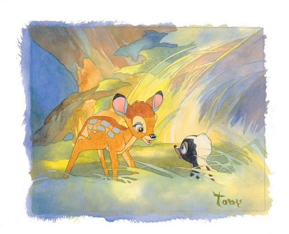 "Toby Bluth Handsigned and Numbered Limited Edition Hand Deckled Giclee on Paper:""Colors of the Forest"""