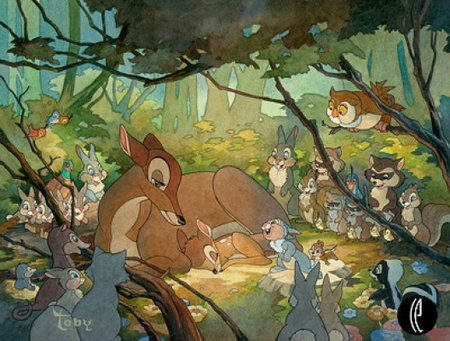"""Toby Bluth Handsigned & Numbered Limited Edition Giclee on Paper:""""Bambi and His Mother"""""""