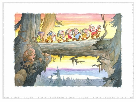 "Toby Bluth Signed and Numbered Limited Edition Hand Deckled Giclée on Paper:""Heigh Ho"""