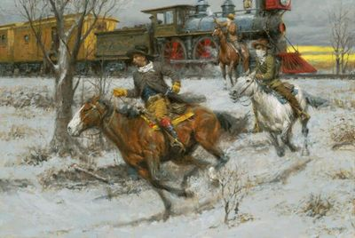 "Andy Thomas Artist Signed and Numbered Limited Edition Canvas Giclee:""Fast Guns and Faster Horses"""