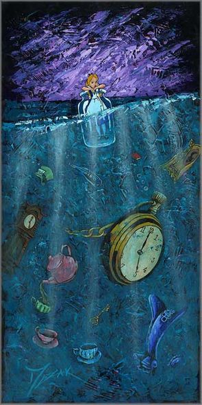 "Trevor Mezak Signed and Numbered Limited Edition Hand-Textured Giclée on Canvas:""Bottle Up Alice"""