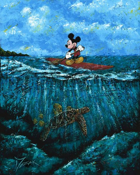 """Trevor Mezak Signed and Numbered Limited Edition Hand-Textured Giclée on Canvas:""""Mickey's Summer"""""""