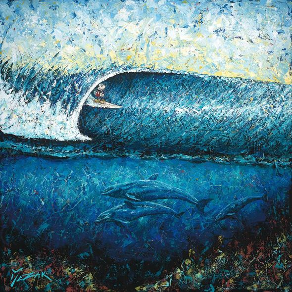 "Trevor Mezak Signed and Numbered Limited Edition Hand-Textured Giclée on Canvas:""Mickey Surfs Pipeline"""