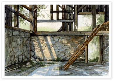 """Trisha Romance Hand Signed and Numbered Limited Edition Canvas Giclee:""""Hay Loft"""""""