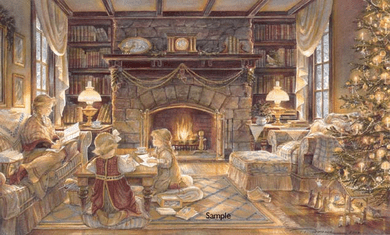 "Trisha Romance Hand Signed and Numbered Limited Edition Giclee:""Christmas At The Cottage"""