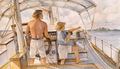 "Trisha Romance Hand Signed and Numbered Limited Edition Giclee:""First Mate"""