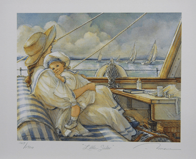 """Trisha Romance Hand Signed and Numbered Limited Edition Giclee:""""Little Sailor"""""""