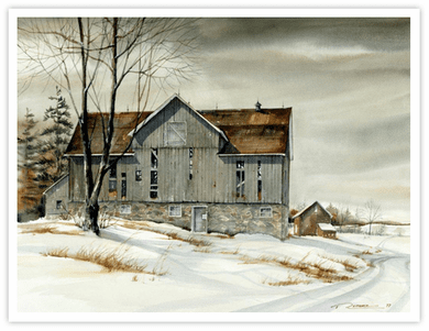 """Trisha Romance Hand Signed and Numbered Limited Edition Giclee:""""Ontario Barn"""""""