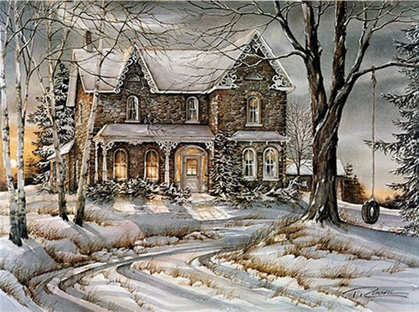 "Trisha Romance Hand Signed and Numbered Limited Edition Giclee:""Warmth Of Winter"""