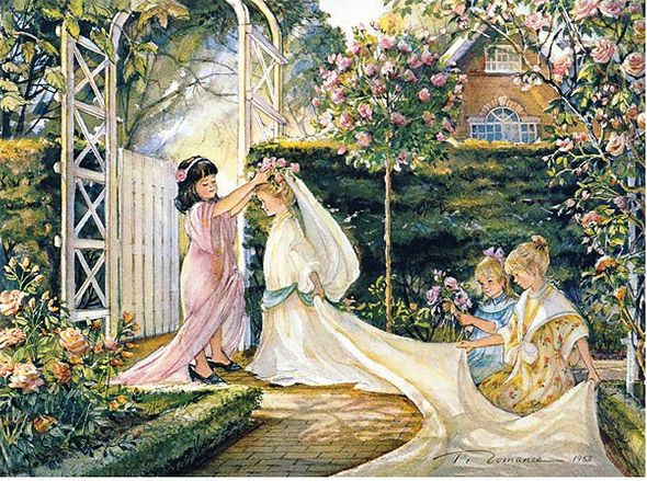 "Trisha Romance Hand Signed and Numbered Limited Grand Romance Collectors Edition Canvas Giclee:""Garden Wedding"""