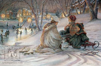 """Trisha Romance Handsigned & Numbered Limited Grand Romance Collectors Edition Canvas Giclee: """"Evening Skaters """""""