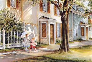 "Trisha Romance Handsigned & Numbered Limited Grand Romance Collectors Edition Canvas Giclee:""School Days"""