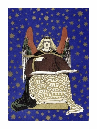 """Unknown Fine Art Open Edition Giclée:""""Angel Holding Book"""""""