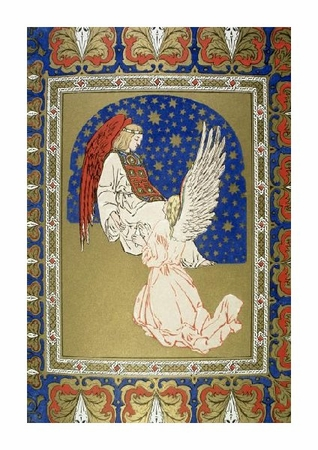 """Unknown Fine Art Open Edition Giclée:""""Angel with Red Wings and Another at Its Knees"""""""