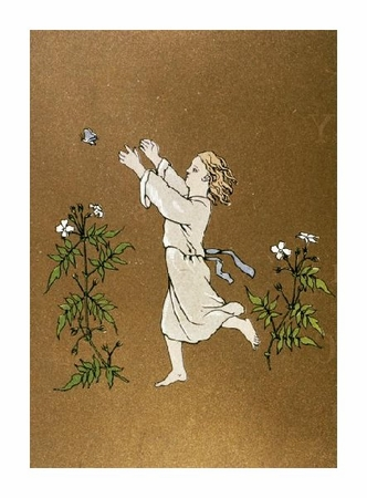 "Unknown Fine Art Open Edition Giclée:""Child Chasing Butterfly"""